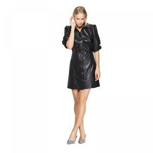 NWT Who What Wear Faux Leather Dress Medium Black